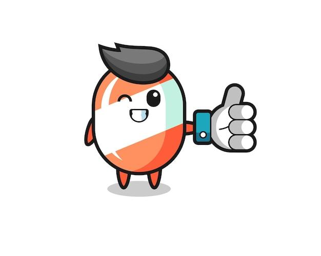 Schattig snoepje met sociale media duim omhoog symbool, schattig stijlontwerp voor t-shirt, sticker, logo-element