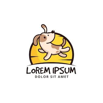 Schattig springende hond cartoon karakter logo