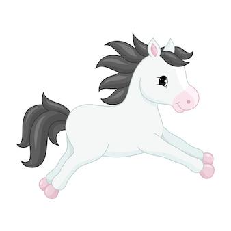 Schattig stripfiguur paard.