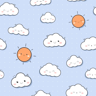 Schattig sunshine sky cartoon doodle naadloze patroon