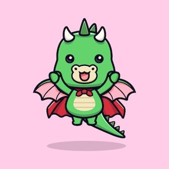 Schattig super draak dier mascotte karakter