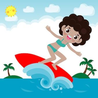 Schattig surfer mensen karakter met surfplank en rijden op oceaangolf