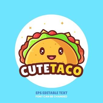 Schattig taco logo vector icon illustrationpremium fast food logo in vlakke stijl voor restaurant