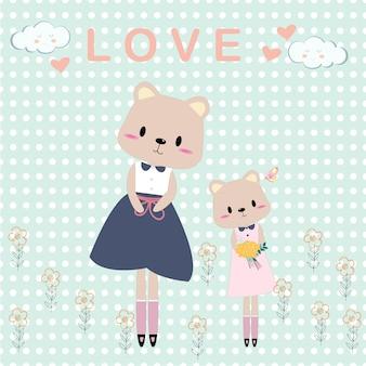 Schattig teddybeer moeder en meisje cartoon kaart