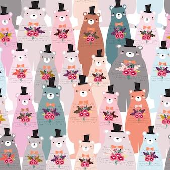 Schattig teddybeer naadloze patroon
