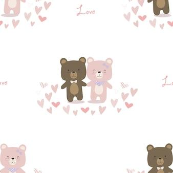 Schattig teddybeer paar minnaar cartoon doodle naadloze patroon