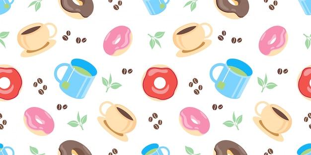 Schattig thee en koffie naadloos patroon met illustratie