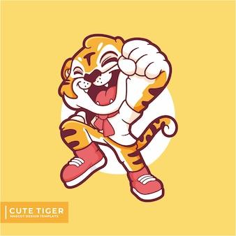 Schattig tijger mascotte logo ontwerp