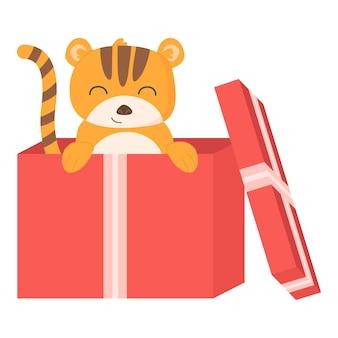 Schattig tijgersymbool van het jaar 2022 in cartoonstijl