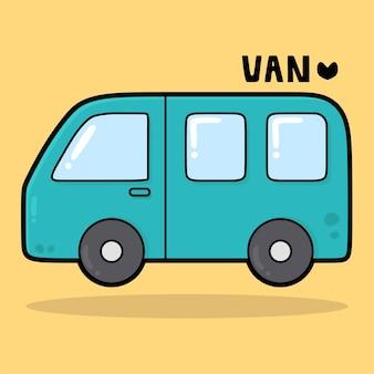 Schattig transportvoertuig cartoon met vocabulaire van