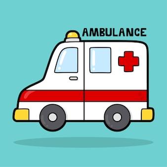 Schattig transportvoertuig cartoon met woordenschat ambulance