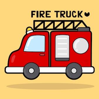 Schattig transportvoertuig cartoon met woordenschat brandweerwagen