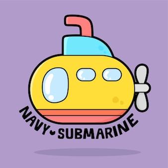 Schattig transportvoertuig cartoon met woordenschat marine onderzeeër