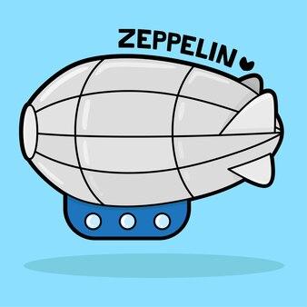 Schattig transportvoertuig cartoon met woordenschat zeppelin