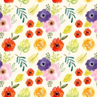 Schattig tropische bloem aquarel naadloze patroon
