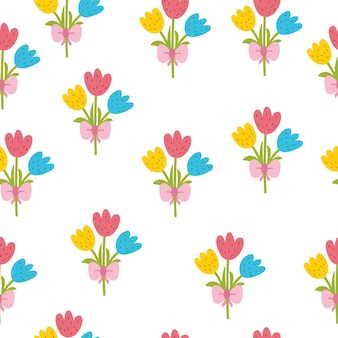 Schattig tulpen naadloos patroon lente in cartoon-stijl