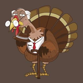 Schattig turkije vector illustratie met zwarte achtergrond