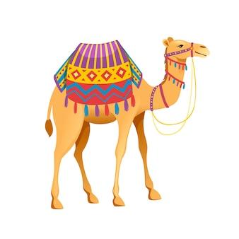 Schattig twee bult kameel met hoofdstel en zadel cartoon dier ontwerp platte vectorillustratie geïsoleerd op een witte achtergrond.