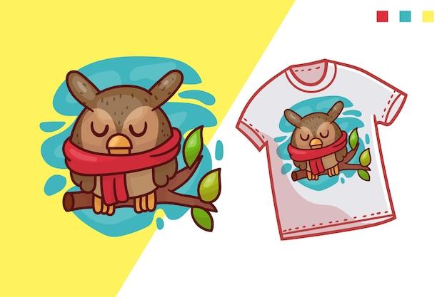 Schattig uil t-shirt sjabloonontwerp