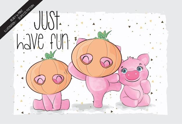 Schattig varkentje happy halloween met naadloos patroon