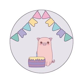 Schattig varkentje met cake verjaardag en slingers
