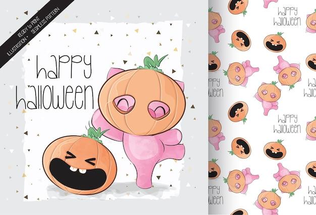 Schattig varkentje met pompoen happy halloween met naadloos patroon Gratis Vector