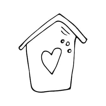 Schattig vector hand getekende huis. coronavirus, covid-19, blijf thuis, werk thuis. pandemische bescherming. positief doodle-pictogram in quarantaine, huiselementen. geïsoleerd op een witte achtergrond.