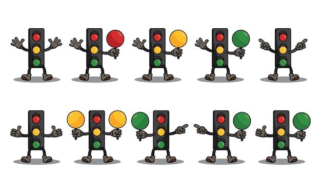 Schattig verkeerslicht set karakter vector design