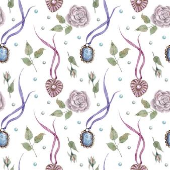 Schattig vintage naadloze patroon met retro hangers en rozen