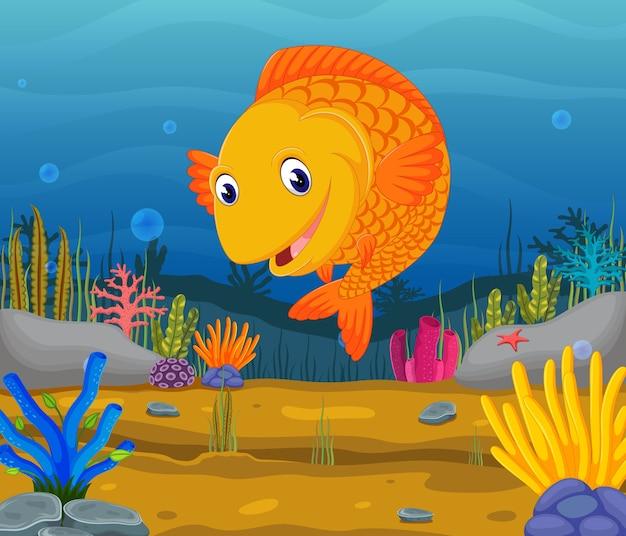 Schattig vis cartoon in de zee
