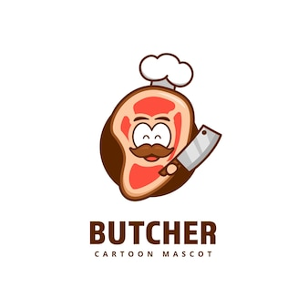 Schattig vlees slager vlees keuken chef-kok logo pictogram mascotte