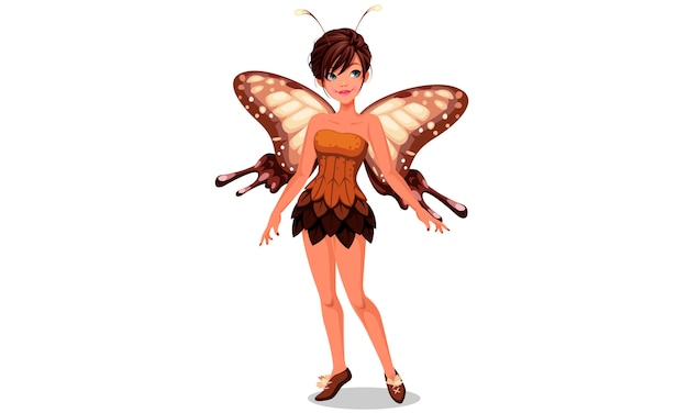 Schattig vlinder fee vectorillustratie