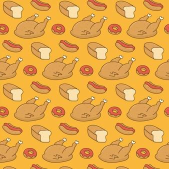 Schattig voedsel doodle patroon