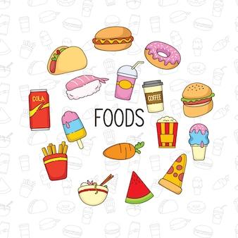 Schattig voedsel doodle