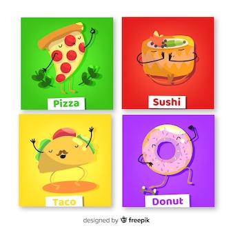 Schattig voedsel kaartenset