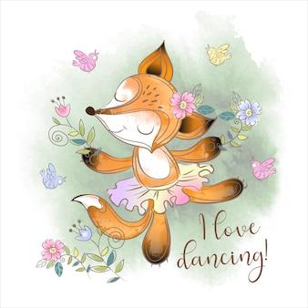 Schattig vos ballerina dansen. ik hou van dansen