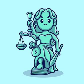 Schattig vrouwe justitia met schalen en geld tas cartoon vectorillustratie pictogram. mensen wet pictogram concept geïsoleerde premium vector. platte cartoonstijl