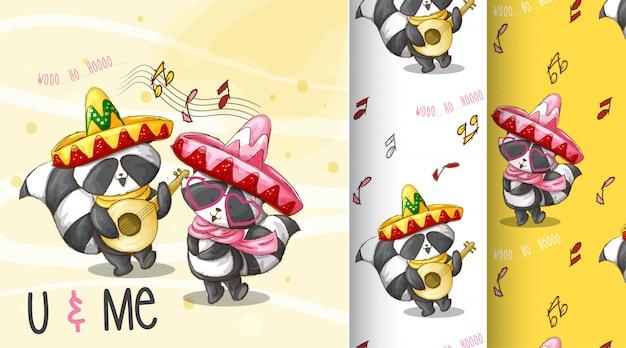 Schattig wasbeer patroon illustratie
