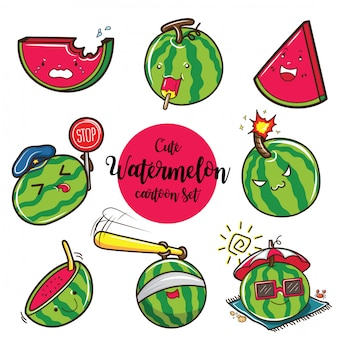 Schattig watermeloen cartoon set., cartoon fruit concept.