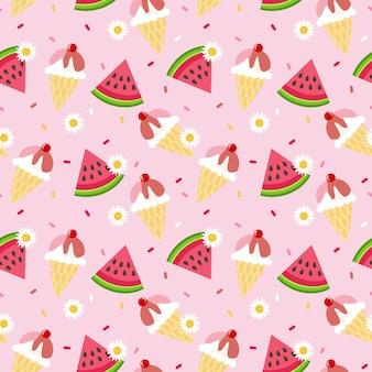 Schattig watermeloen en ijs naadloze patroon.