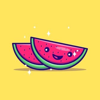 Schattig watermeloen mascotte illustratie vector pictogram platte cartoon concept