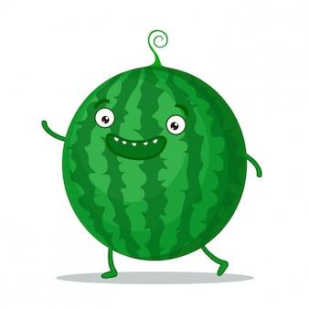 Schattig watermeloen zwaaien