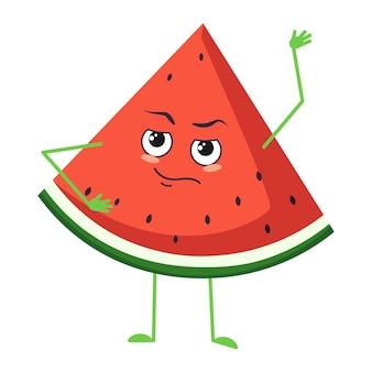 Schattig watermeloenkarakter met emoties, gezicht, armen en benen