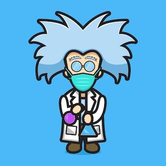 Schattig wetenschapper karakter dragen masker experiment gevaarlijke chemische cartoon vector pictogram illustratie. wetenschap technologie pictogram concept geïsoleerde vector. platte cartoonstijl