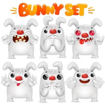 Schattig wit konijn cartoon emoji karakter in verschillende emoties situaties collectie