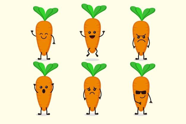 Schattig wortel plantaardige karakter geïsoleerd in meerdere uitdrukkingen