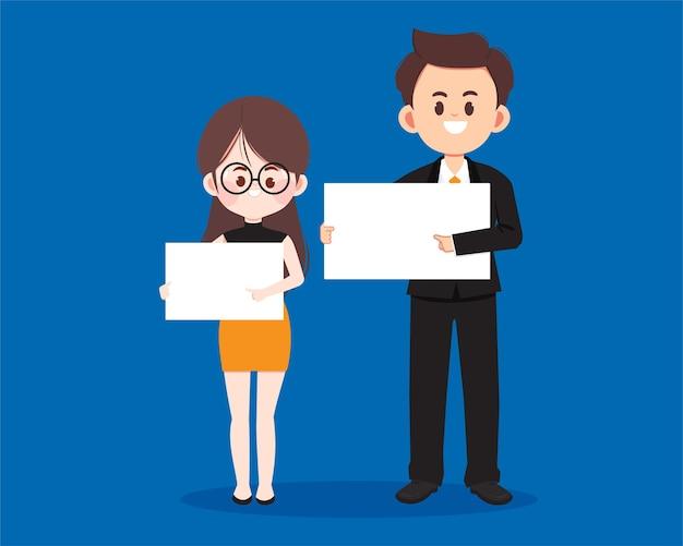 Schattig zakenmensen karakter met leeg bord cartoon kunst illustratie