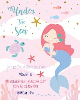 Schattig zeemeermin thema verjaardagsfeestje uitnodiging kaart vectorillustratie.