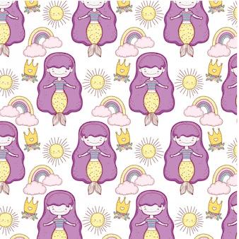 Schattig zeemeerminnen sprookjes patroon