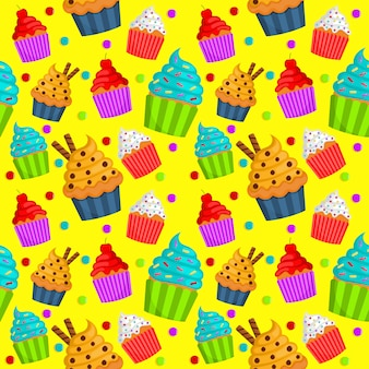 Schattig zoet cupcake naadloze patroon. zomerse desserts